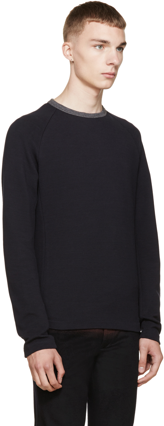 Kolor Navy Ribbed Sweater in Blue for Men | Lyst