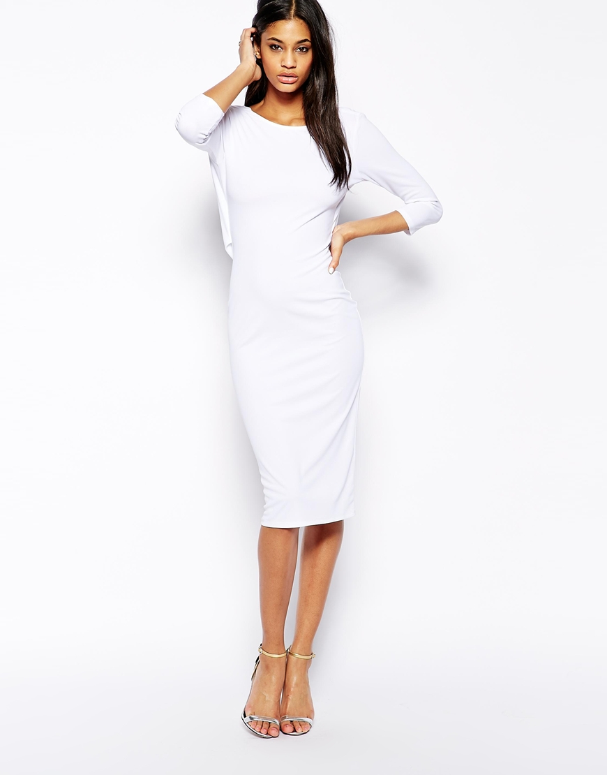 4ae25d7539e6f ASOS Cowl Back Midi Bodycon Dress in White - Lyst