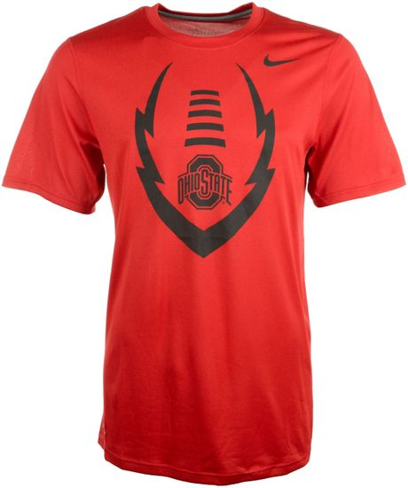 Nike mens shortsleeve ohio state buckeyes tshirt in red for Ohio state shirts mens