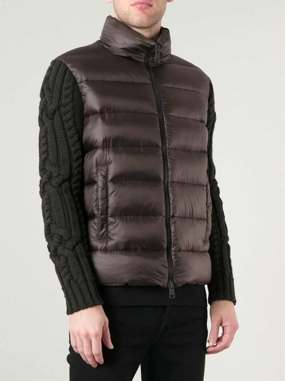 Herno Cable Knit Sleeves Padded Jacket in Brown for Men | Lyst