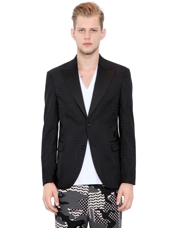 Neil barrett wool blend jacquard tuxedo jacket in black for Neil barrett tuxedo shirt