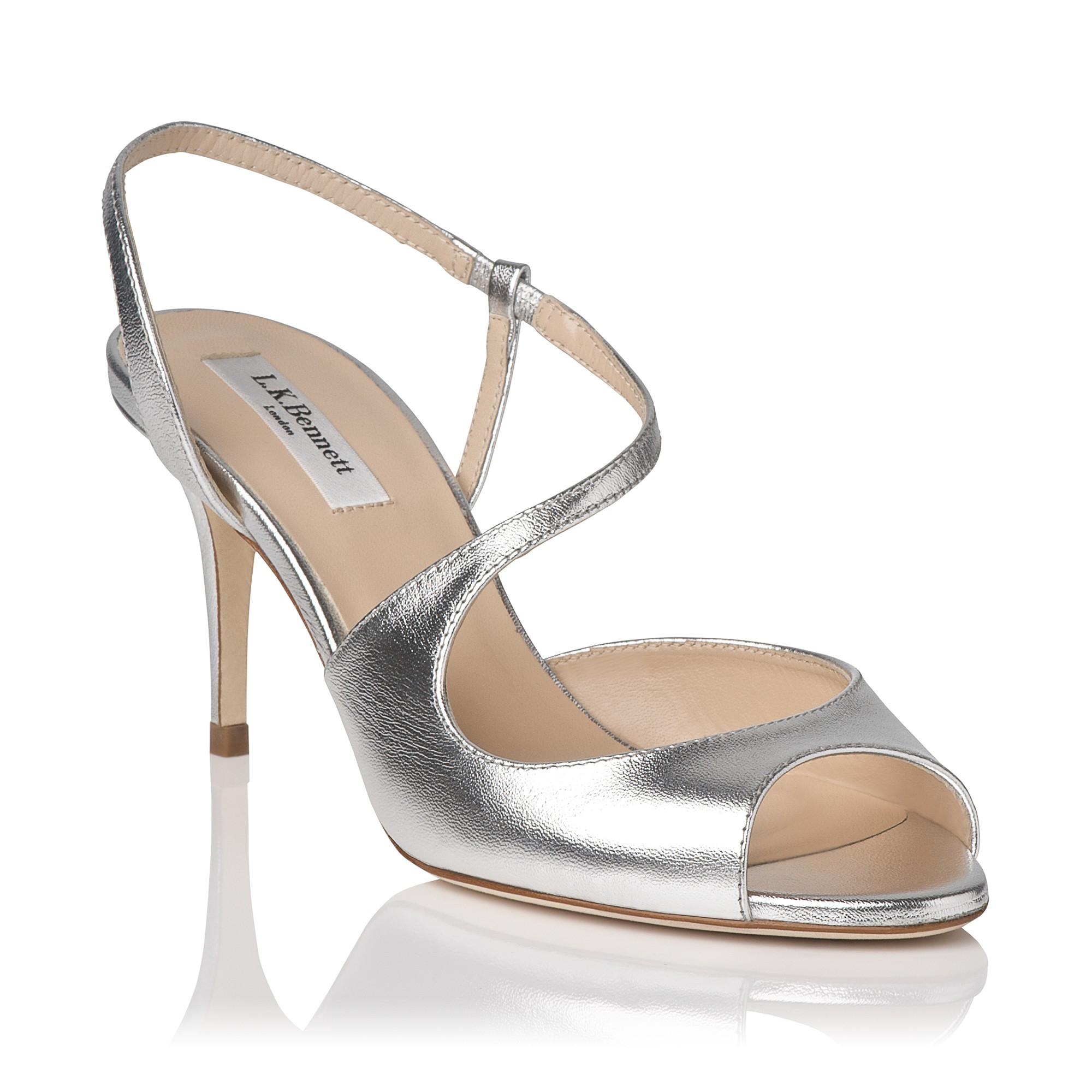 Silver Mid Heel Sandals | Tsaa Heel