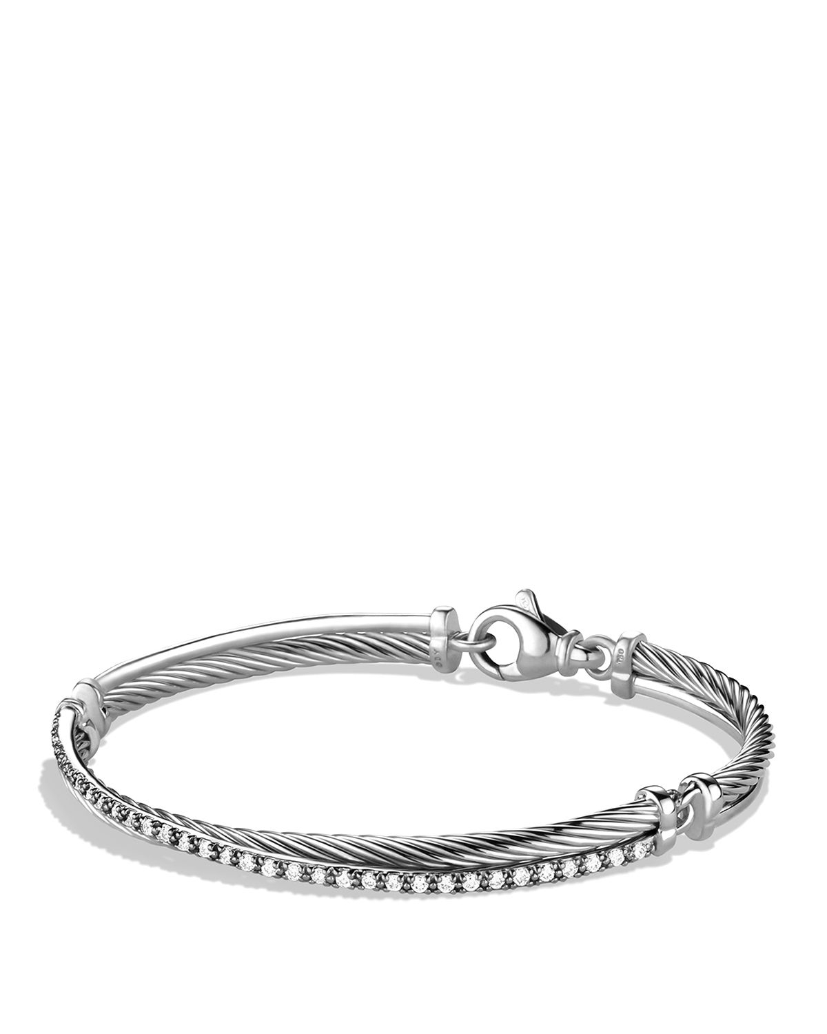 David Yurman Charm Bracelet: David Yurman Crossover Bracelet With Diamonds In Silver