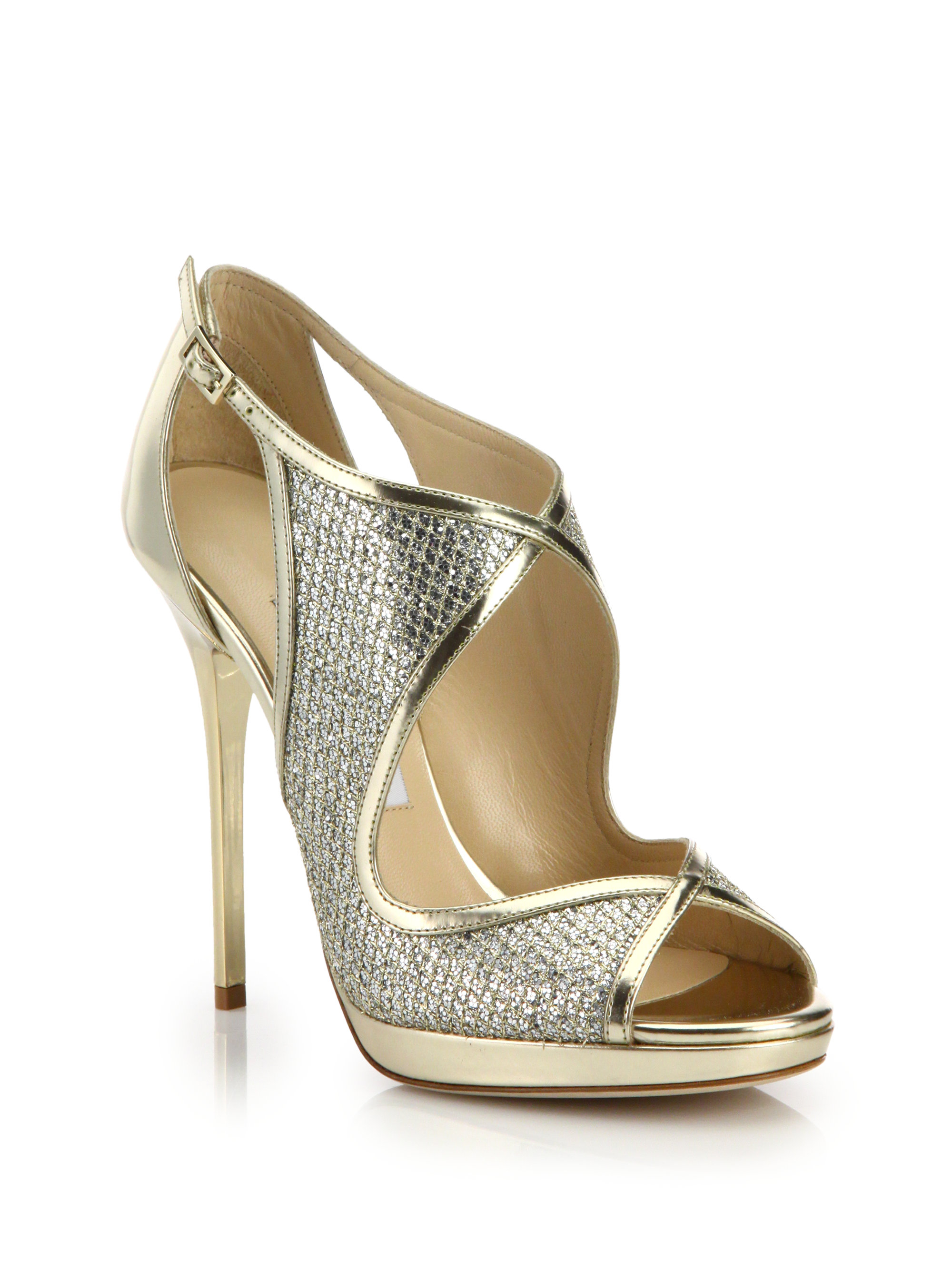 Jimmy Choo Metallic-Embossed Suede Sandals cost online sale huge surprise EV0mRD