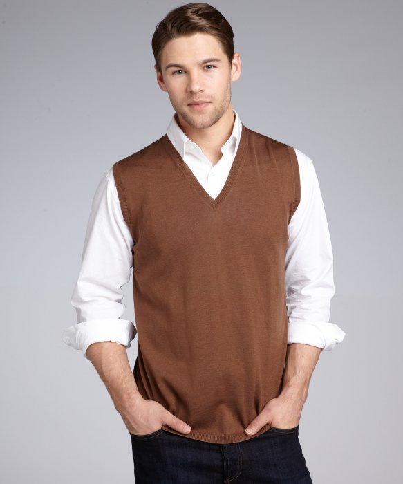 Prada Tobacco Wool Vneck Sweater Vest in Brown for Men | Lyst