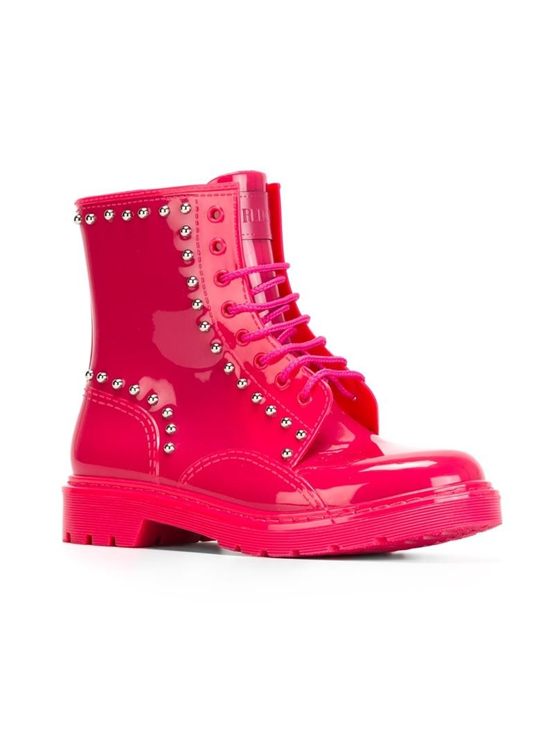 Red valentino Studded Combat Boots in Pink | Lyst