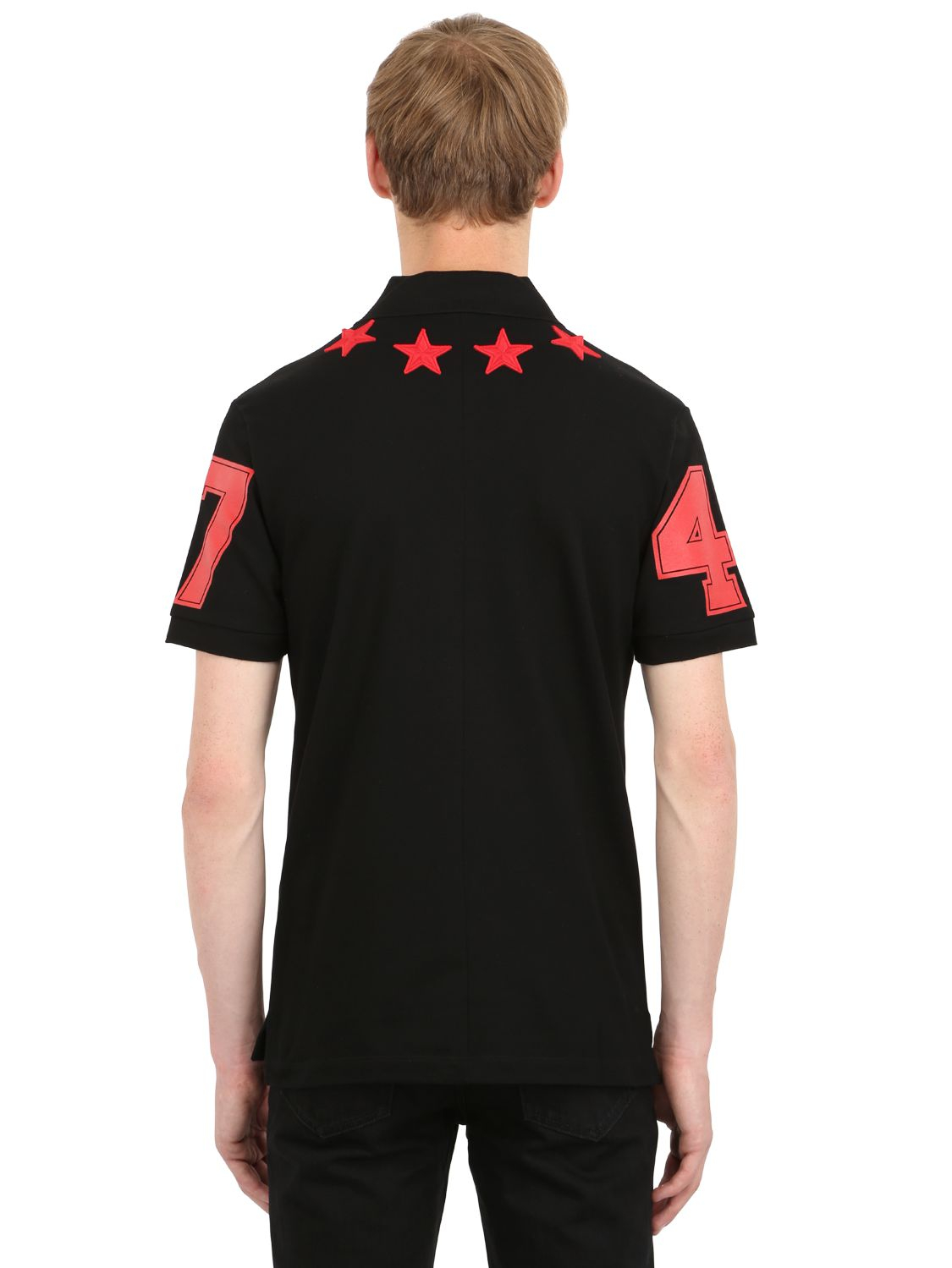 Givenchy Stars Patch Cuban Fit Cotton Polo In Red For Men