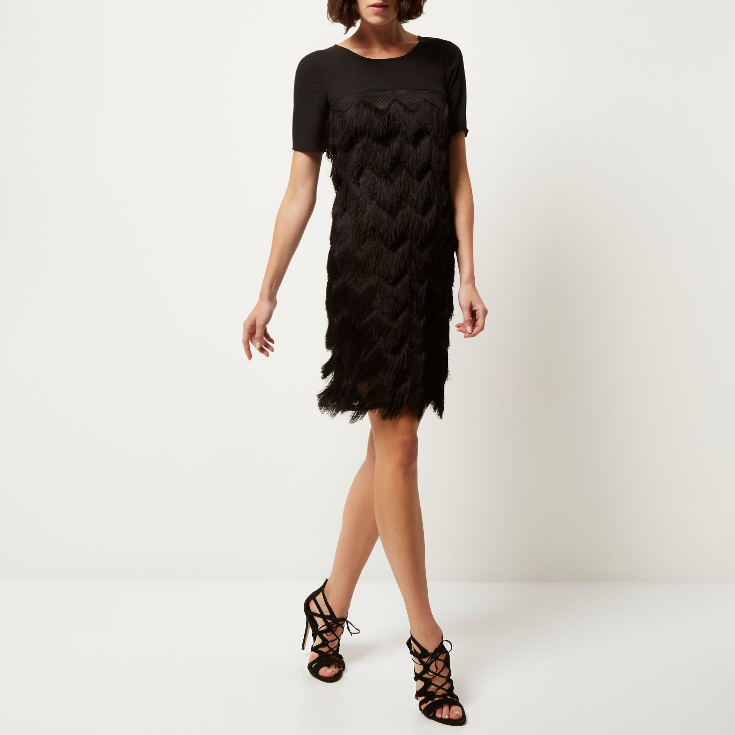 Black premium fringed t-shirt dress
