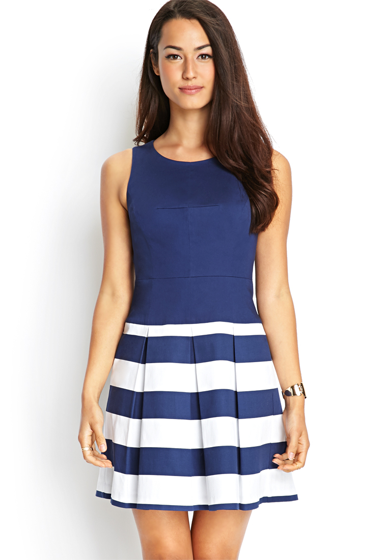 forever 21 striped combo dress in blue  lyst