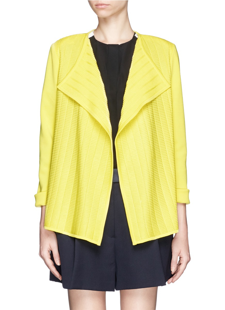 Burberry Brit Store A Milano : St john plissé front milano knit jacket in yellow