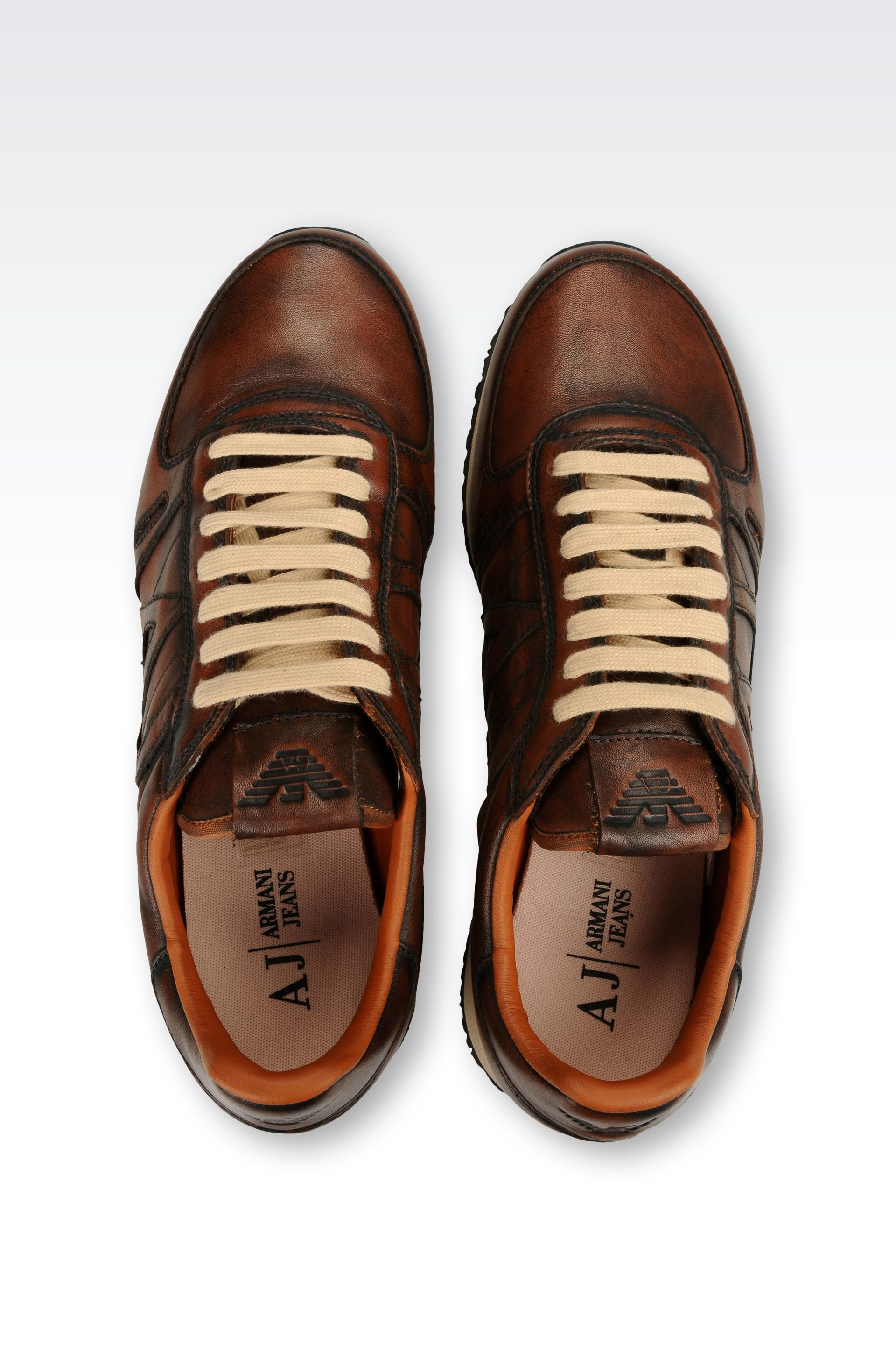 armani jeans sneaker in leather with logo in brown for men. Black Bedroom Furniture Sets. Home Design Ideas