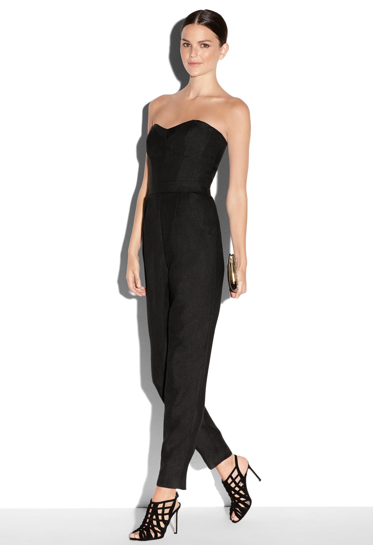 424a9887897e Lyst - MILLY Bustier Jumpsuit in Black