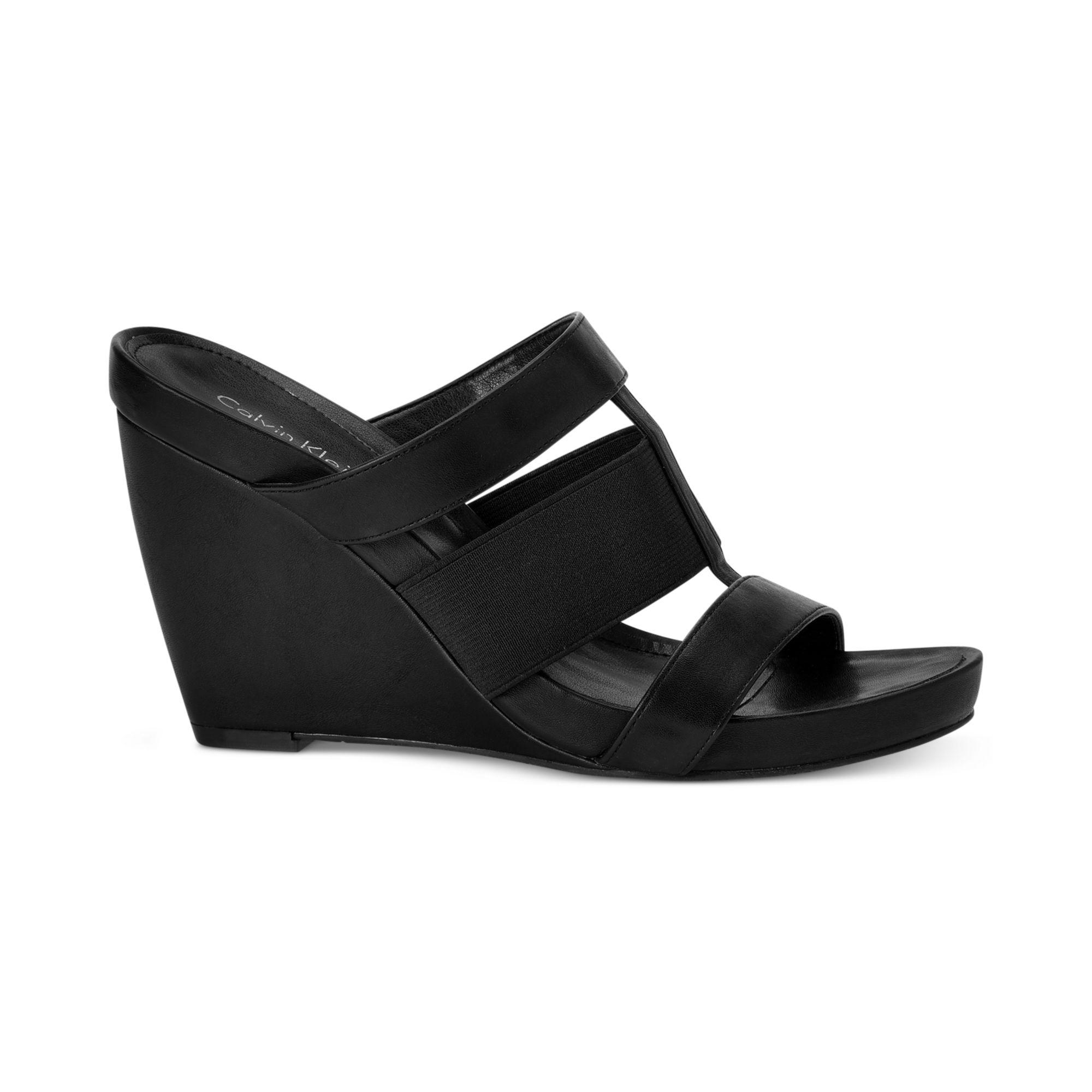 calvin klein womens dunley wedge sandals in black lyst