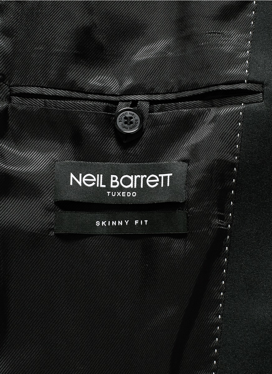 Neil barrett satin notch lapel skinny fit tuxedo blazer in for Neil barrett tuxedo shirt