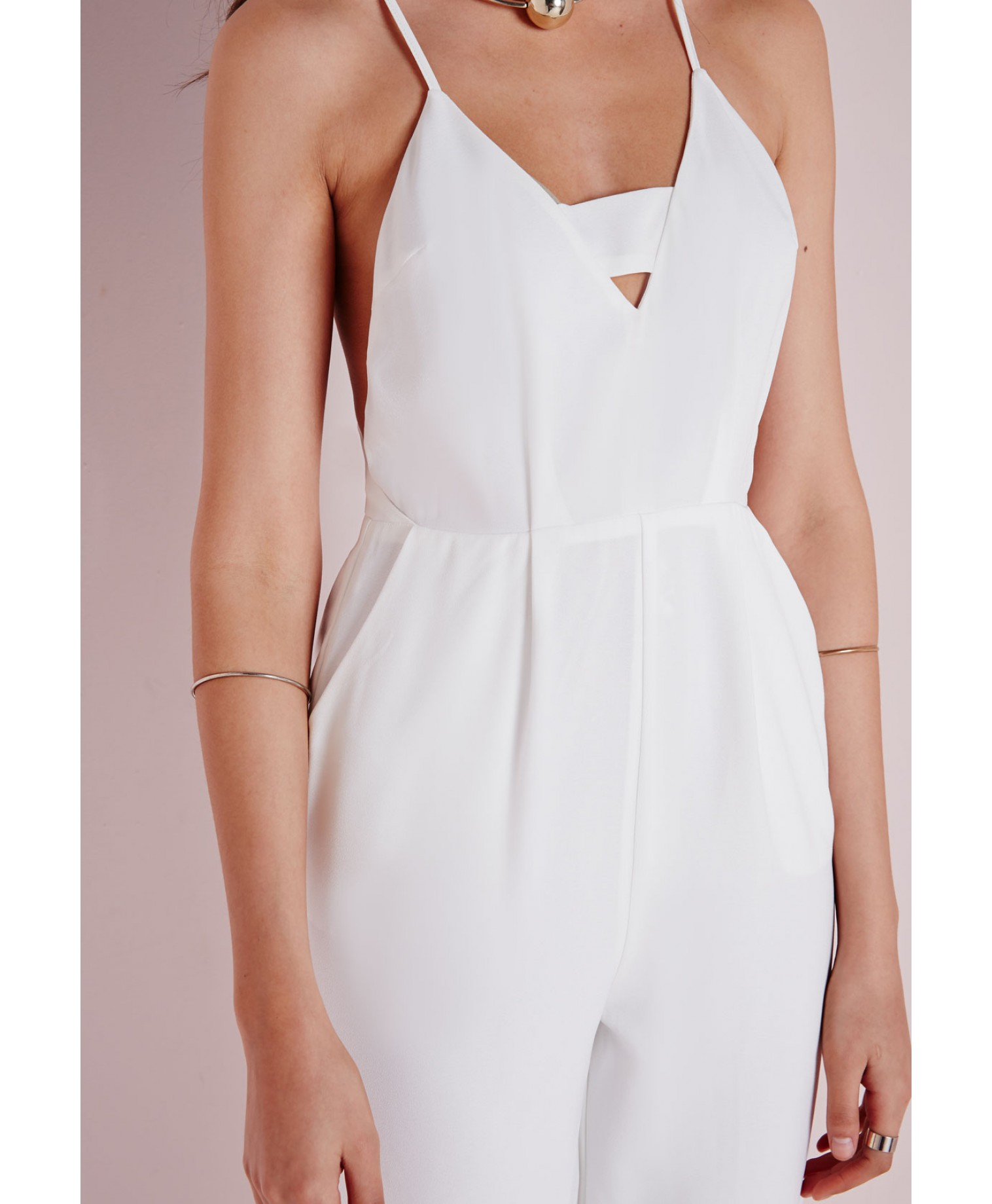 cd94b9c15a0c Lyst - Missguided Plunge Insert Strappy Jumpsuit White in White
