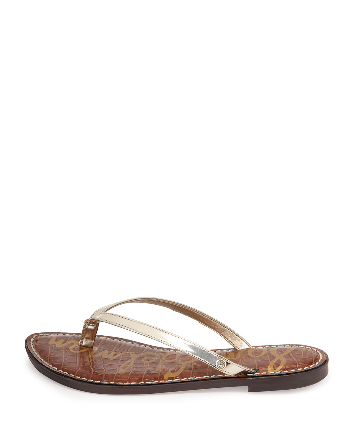 0c490be5ed42 Lyst - Sam Edelman Gracie Metallic Thong Sandal in Brown