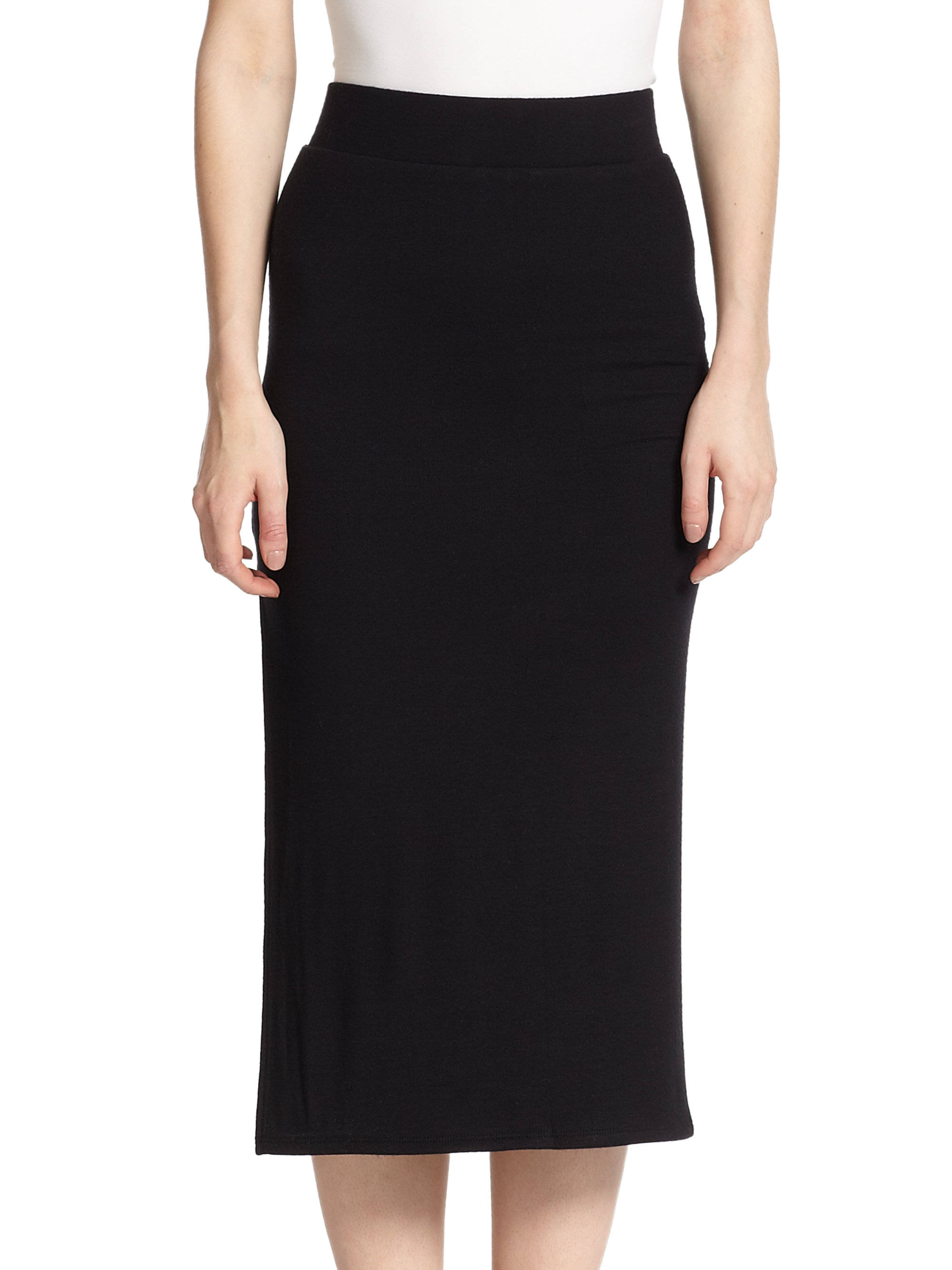 atm side slit knit midi skirt in black lyst