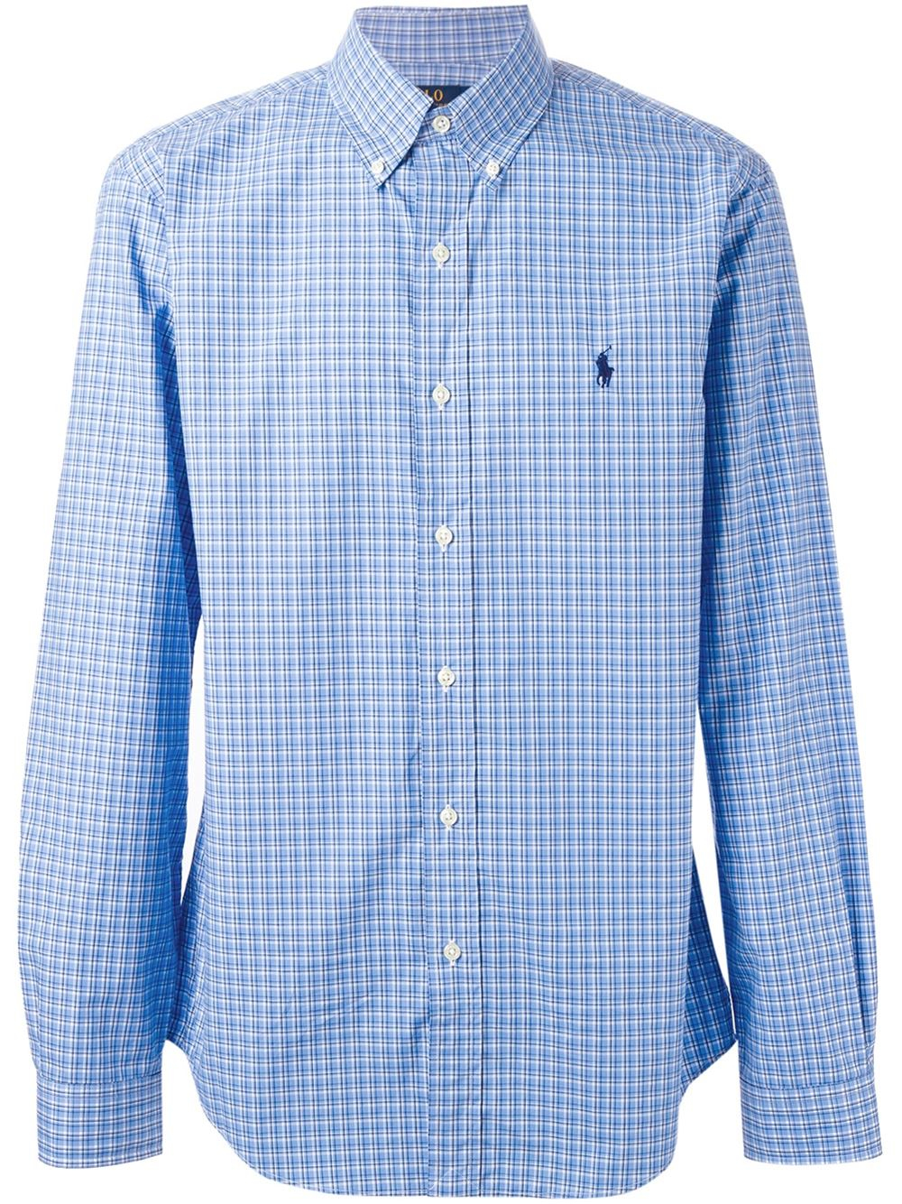Polo ralph lauren gingham print shirt in blue for men lyst for Mens blue gingham shirt