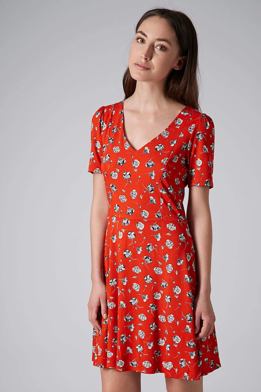 red floral dress topshop