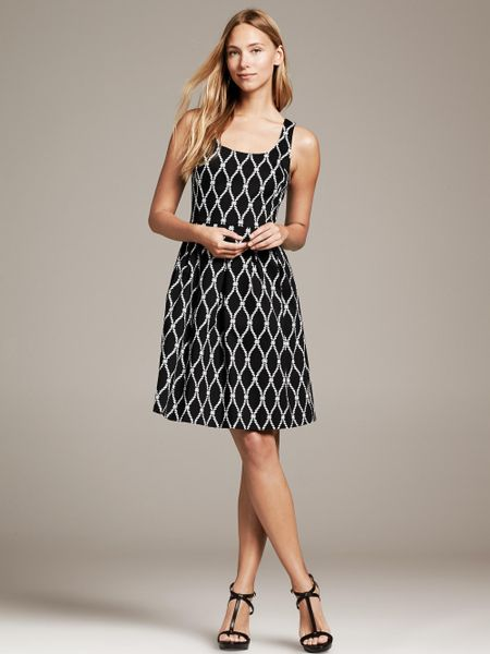 Banana Republic Rope Print Fit And Flare Dress Black In