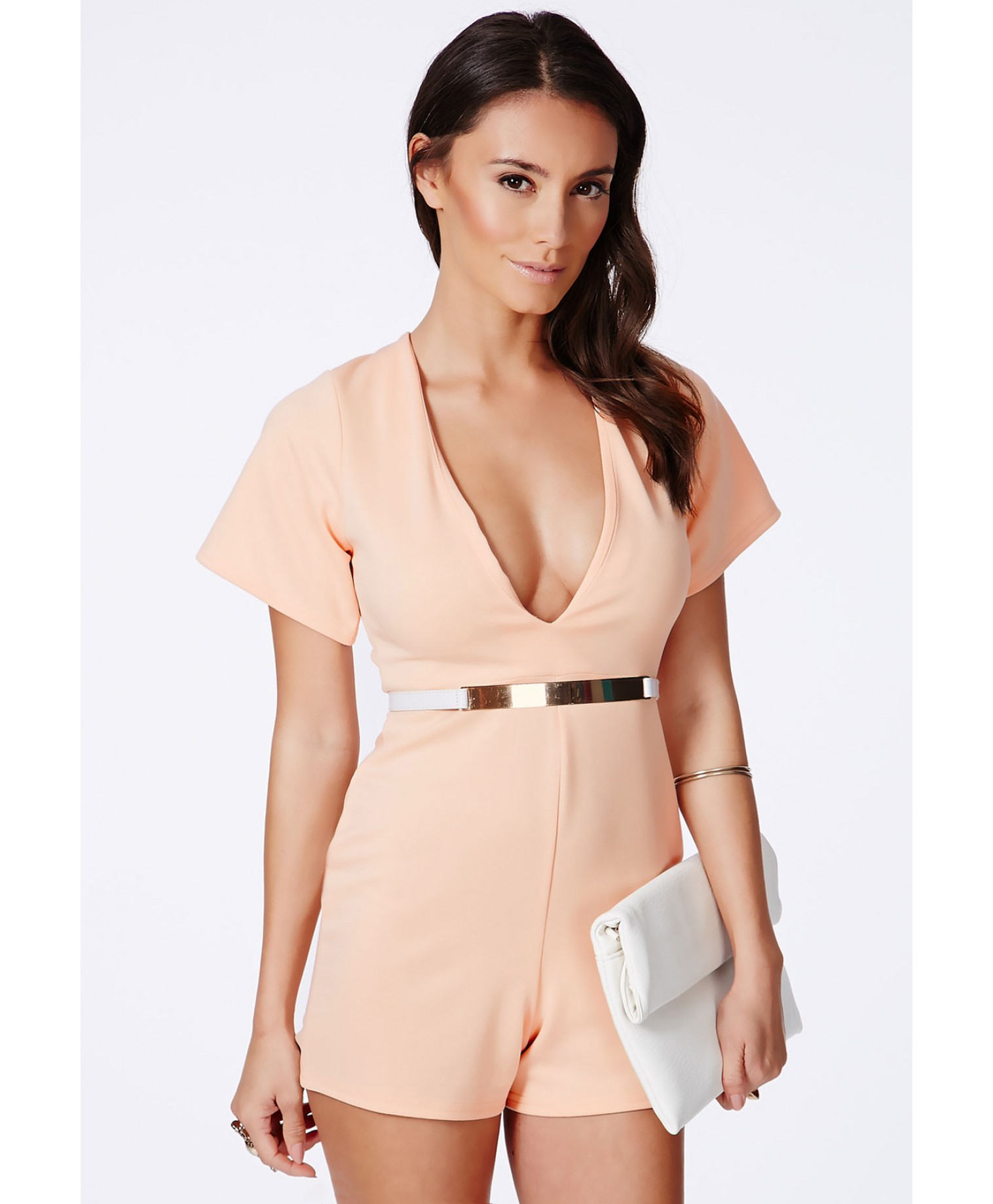 d6ebec0be3 Lyst - Missguided Lesaka Scuba Plunge Romper In Nude in Natural