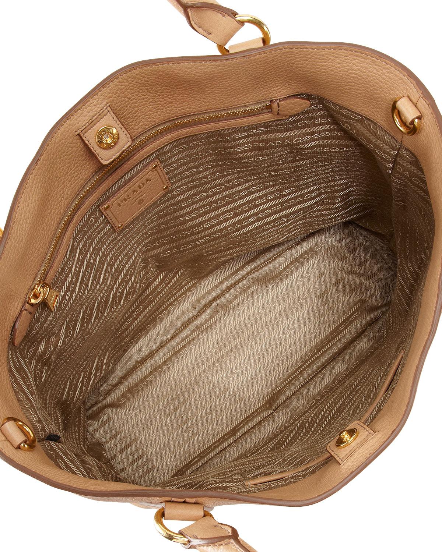 Prada Daino Snaptop Tote Bag in Beige | Lyst