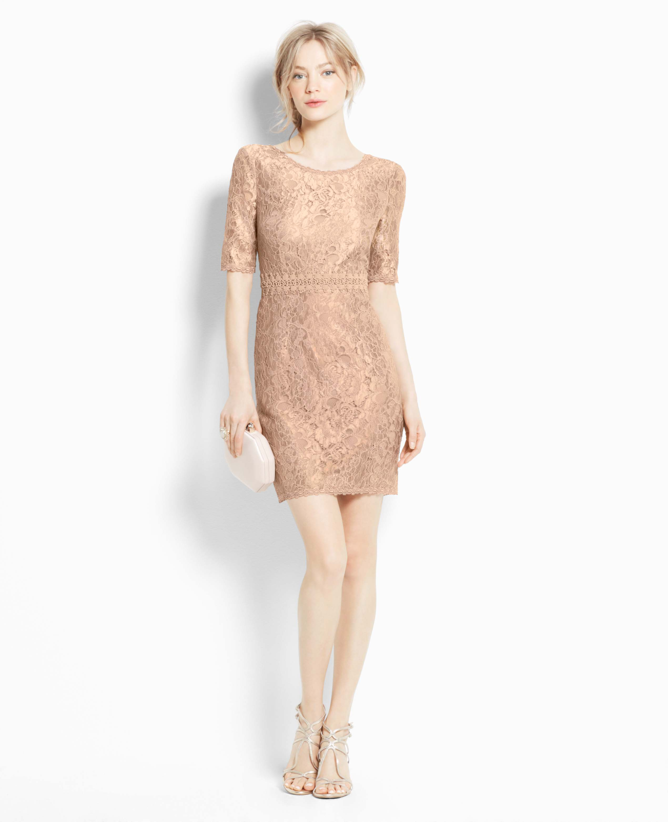 Ann Taylor Short Sleeve Lace Dress In Pink Lyst