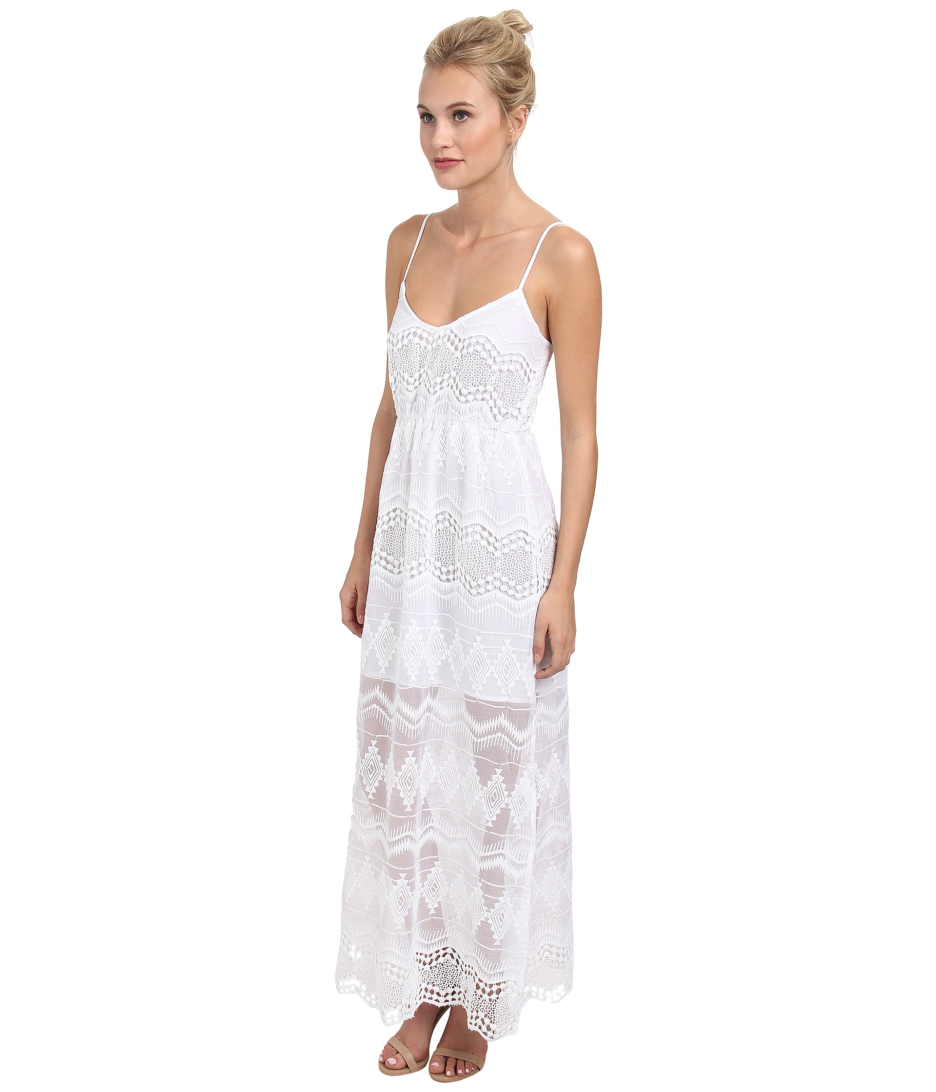 Lyst Bardot Lace Maxi Dress In White
