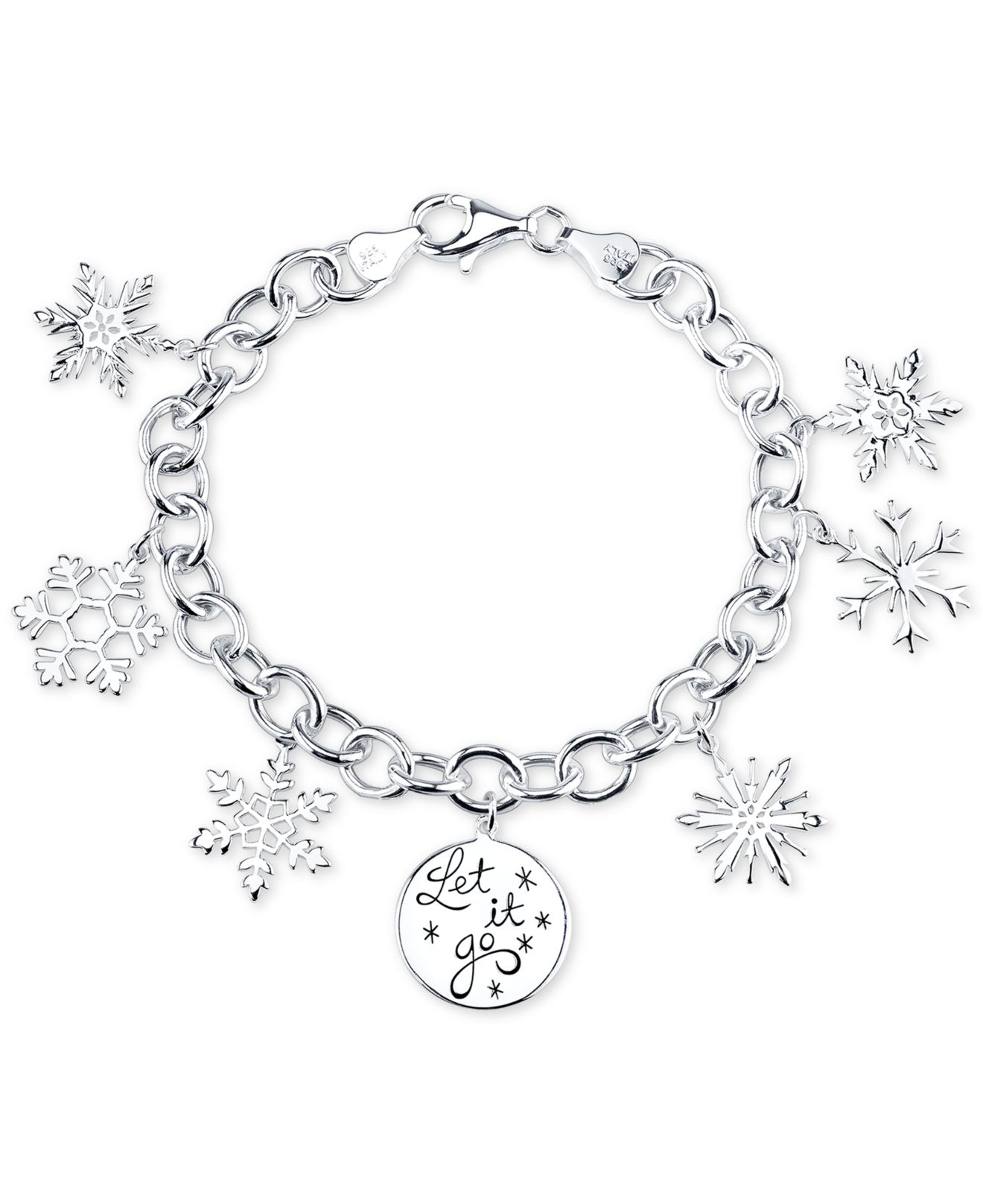 Snowflake Charm Bracelet: Disney Frozen Snowflake Charm Bracelet In Sterling Silver