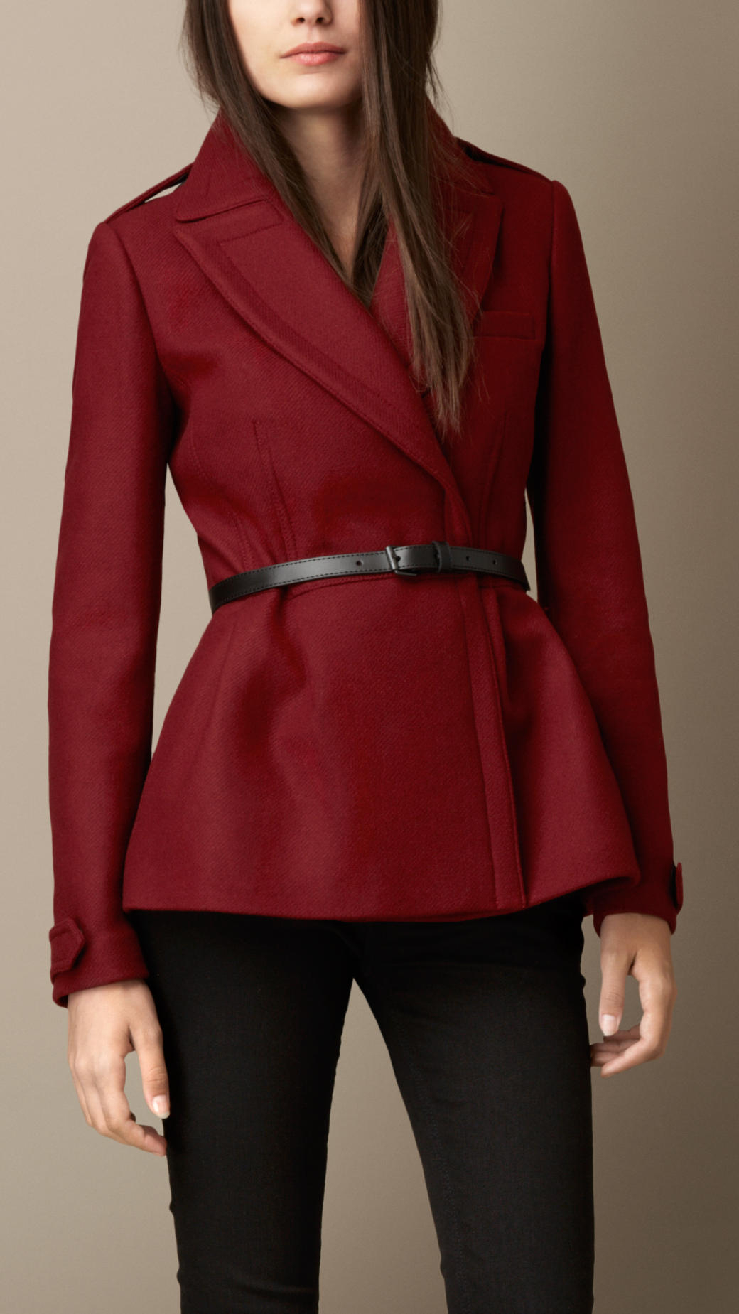 Lyst Burberry Double Wool Twill Feminine Pea Coat In Red