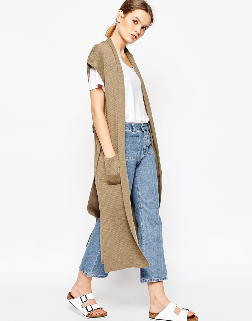 Asos Sleeveless Longline Cardigan With Belt in Natural   Lyst