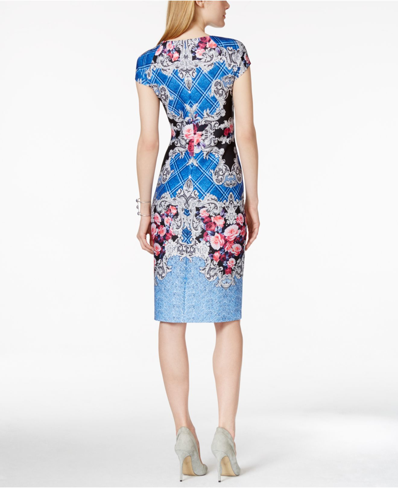 Lyst Eci Floral Print Midi Sheath Dress In Blue