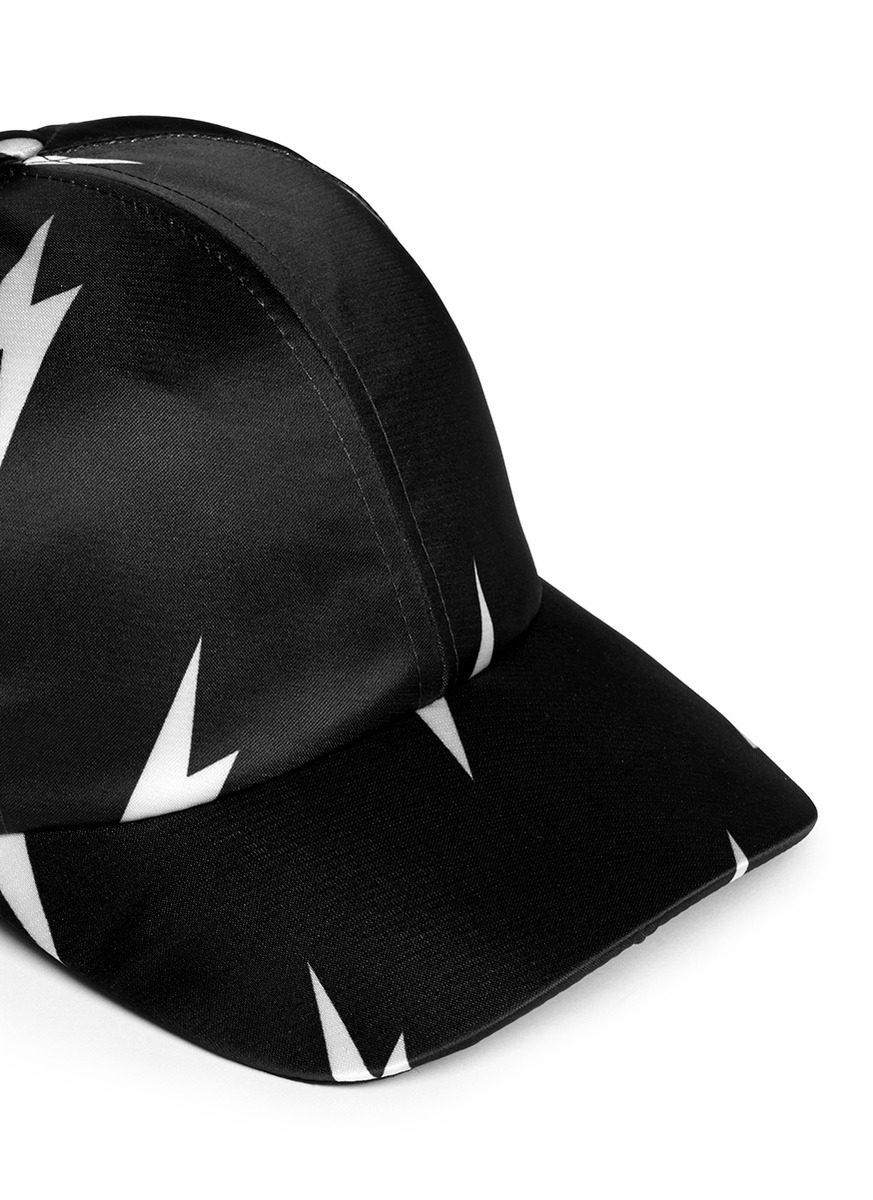 Lyst - Neil Barrett Lightning Bolt Satin Baseball Cap in Black bd5bd655bed5