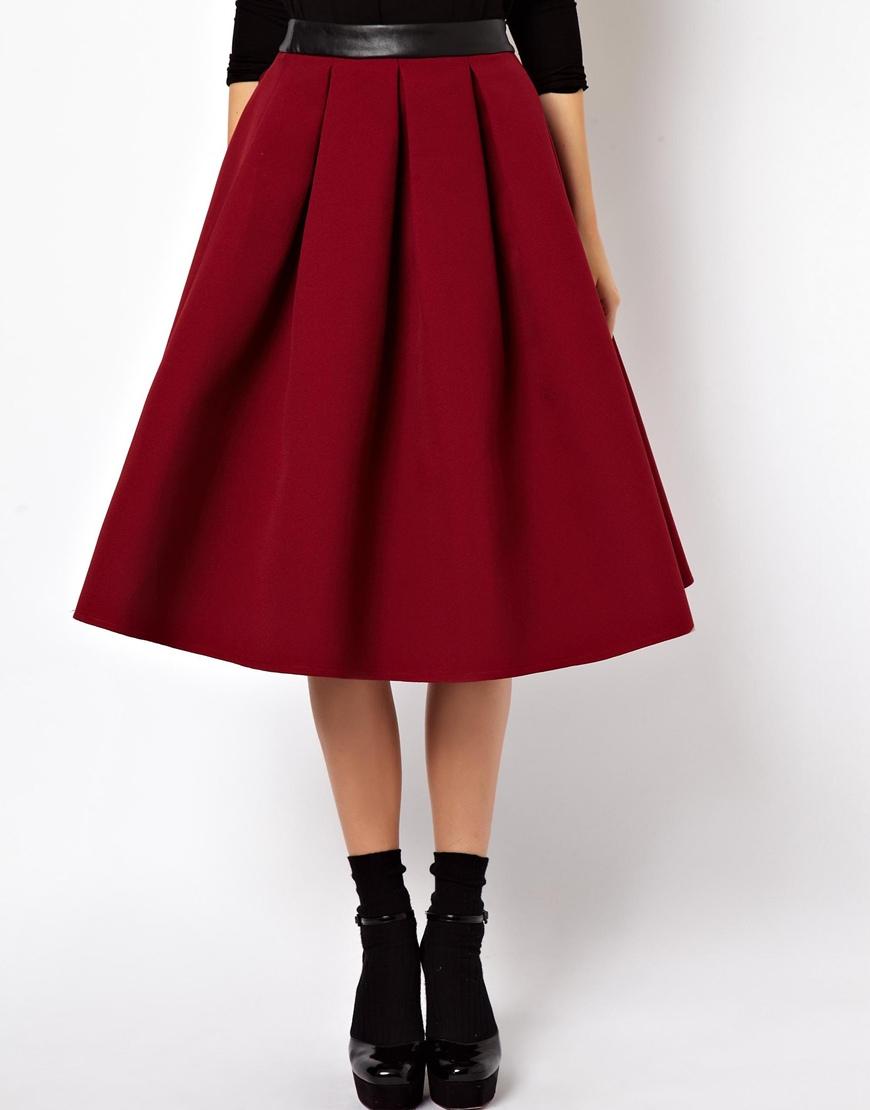 asos premium midi skirt in bonded crepe in white lyst