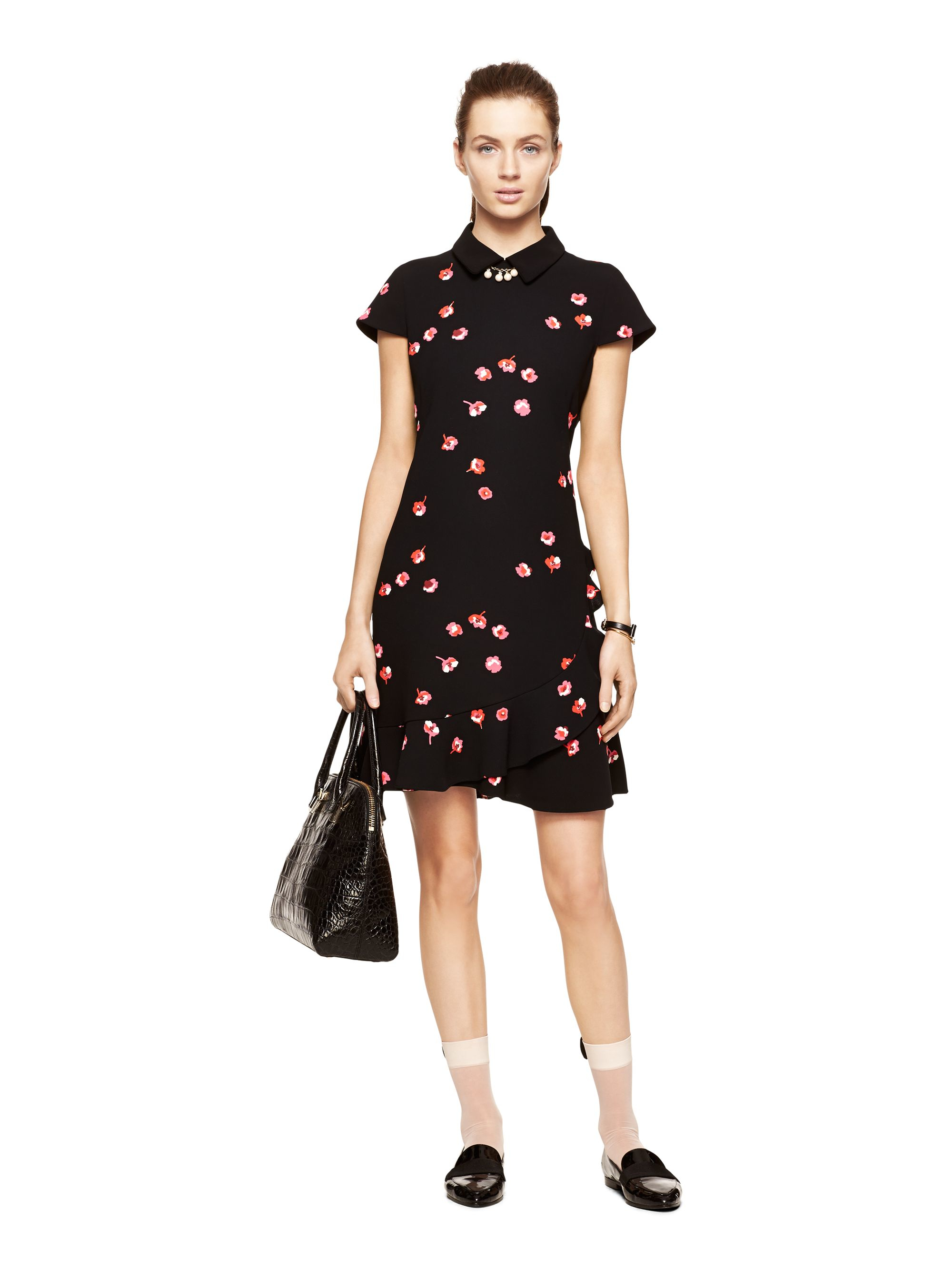 Kate Spade New York Falling Florals Ruffle Dress In Pink