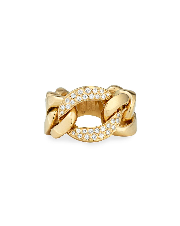 Bessa 18k Gold Curb Chain Link Diamond Ring In Metallic Lyst