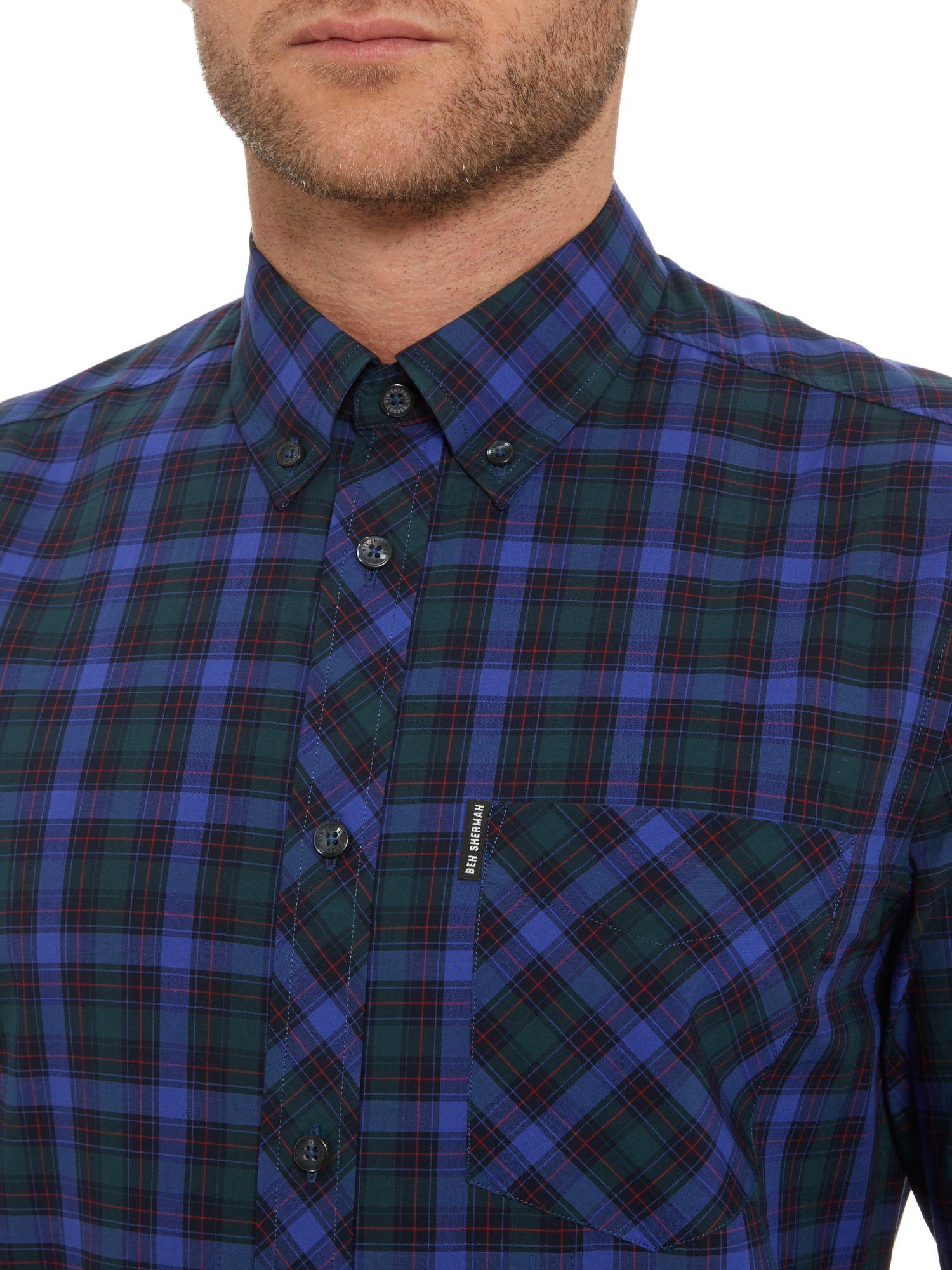 Ben Sherman Pop Tartan Check Long Sleeve Shirt In Blue For