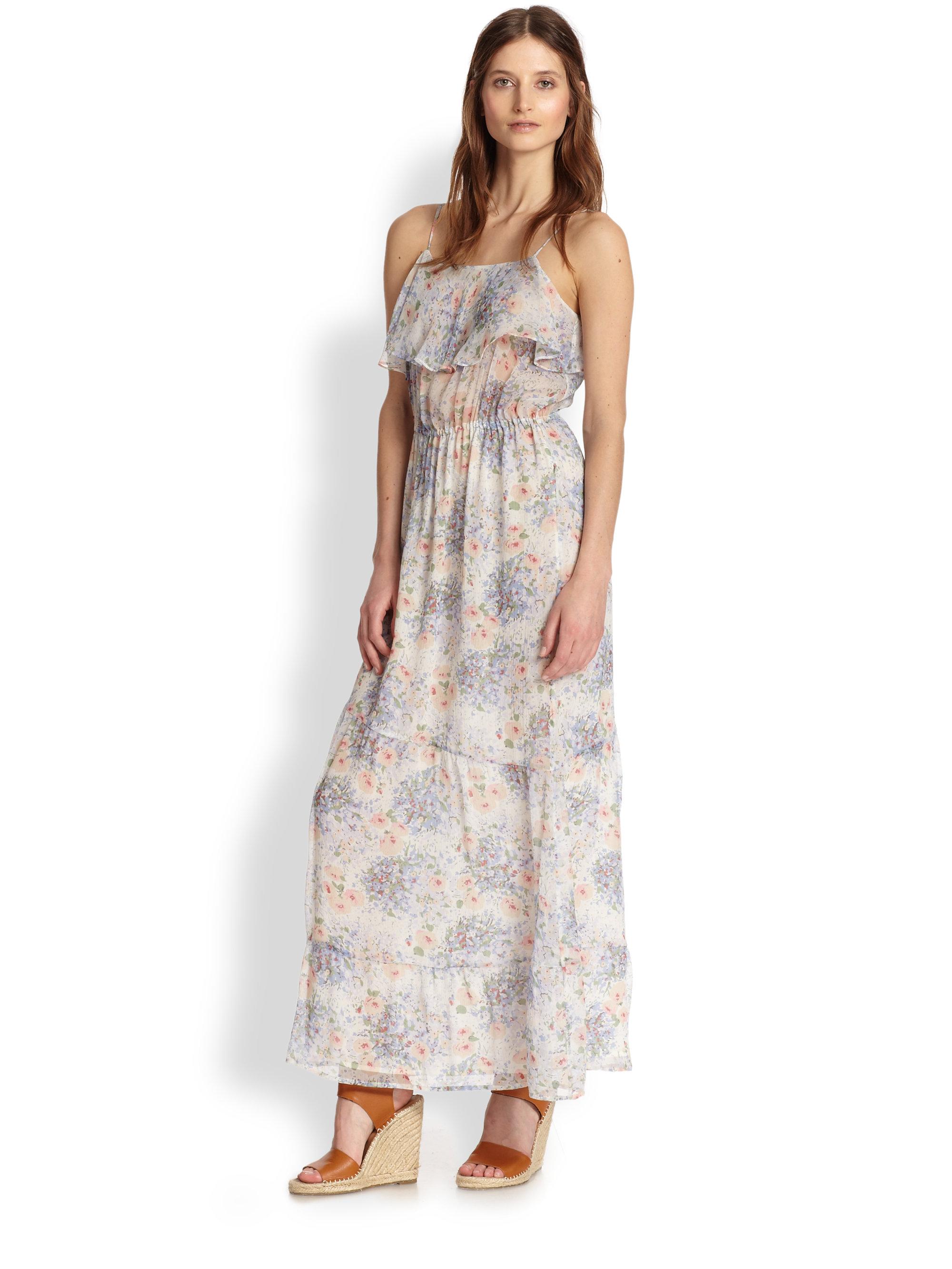 9b46aa6f4 Joie Rominette Silk Floral-Print Ruffled Maxi Dress - Lyst