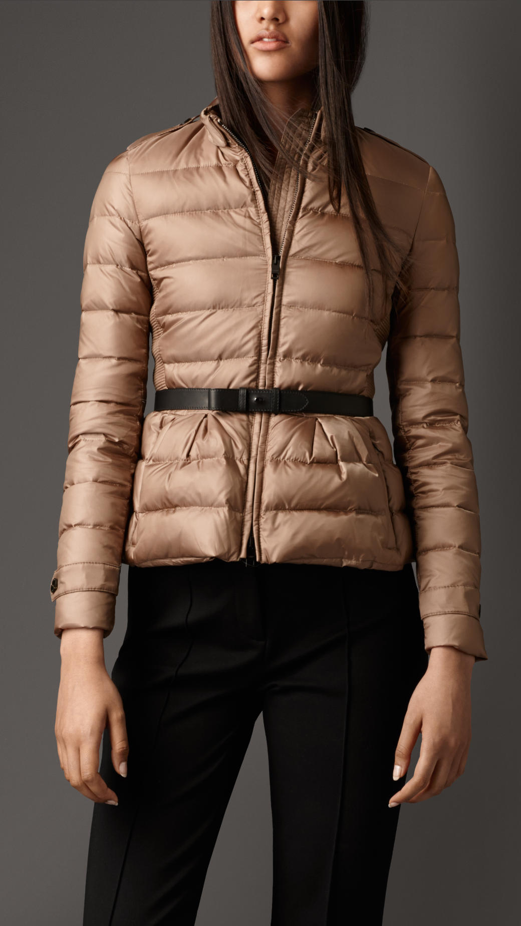 Burberry Belted Puffer Jacket In Beige Smoked Trench Lyst