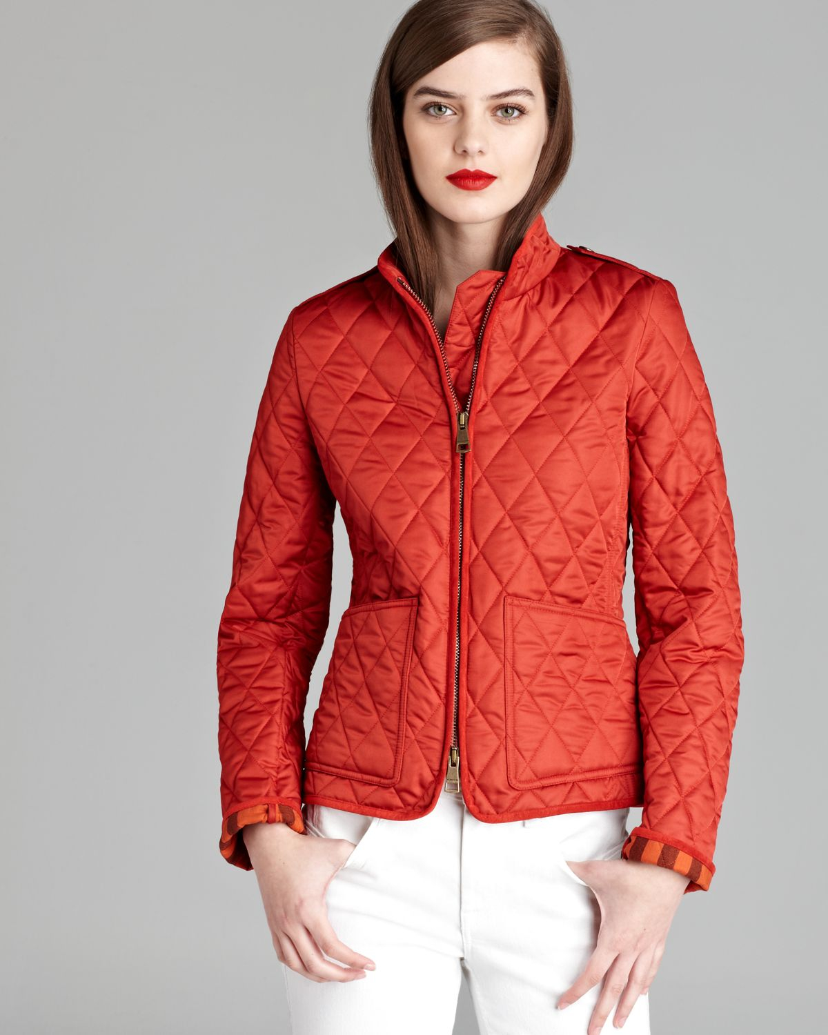 Burberry brit Edgefield Quilted Jacket in Orange | Lyst : red burberry quilted jacket - Adamdwight.com