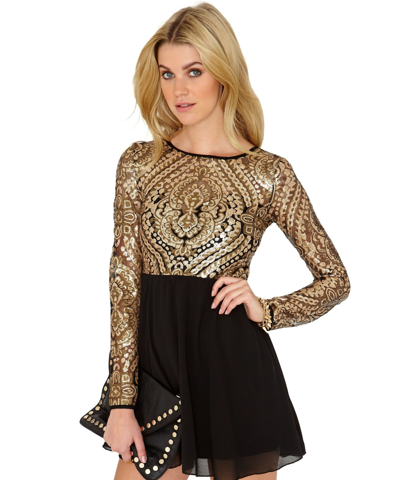 Black and gold missguided dress