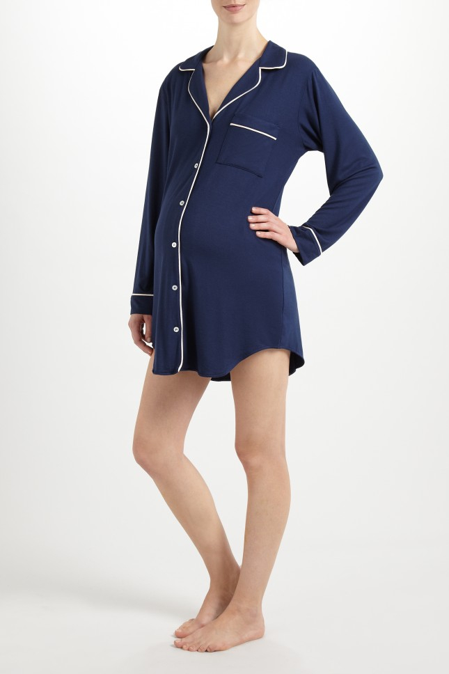 Eberjey gisele sleep shirt in blue lyst for Womens tall button down shirts