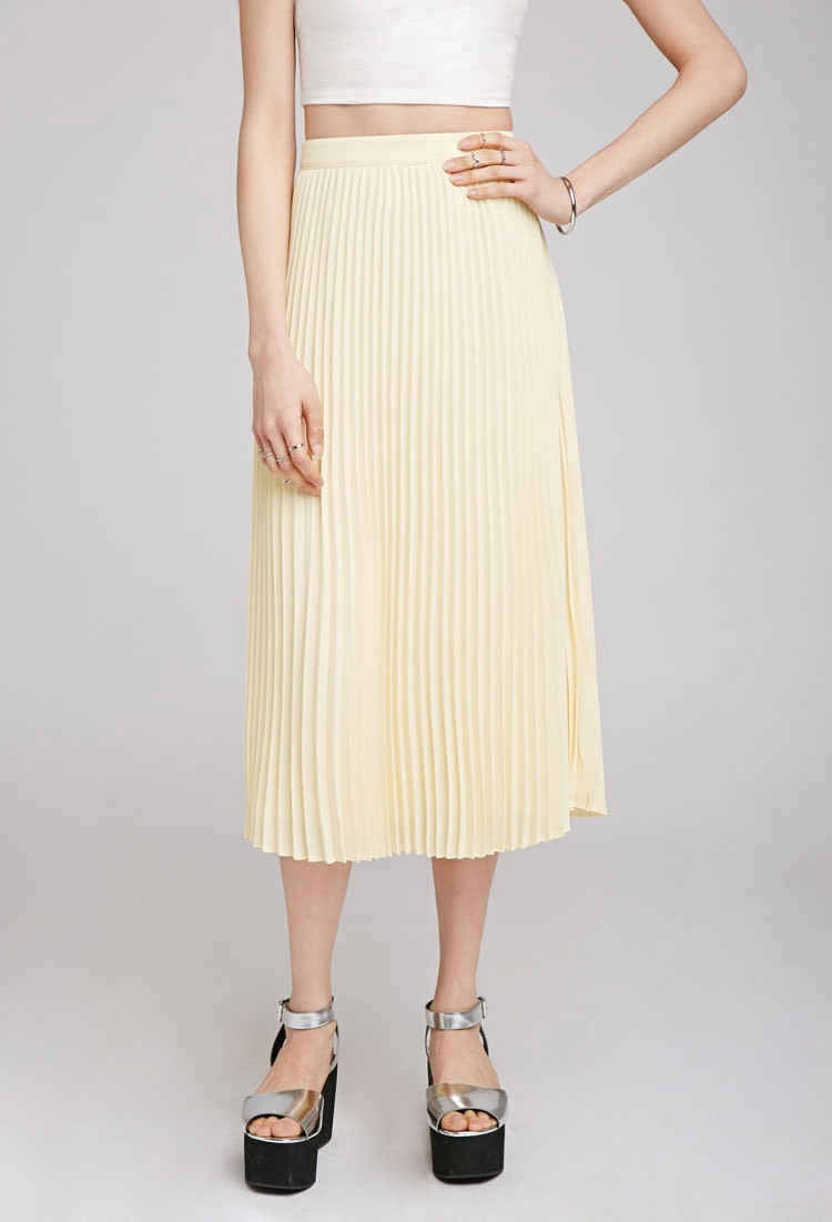 c509c7a49e Forever 21 Accordion Pleat Midi Skirt in Yellow - Lyst