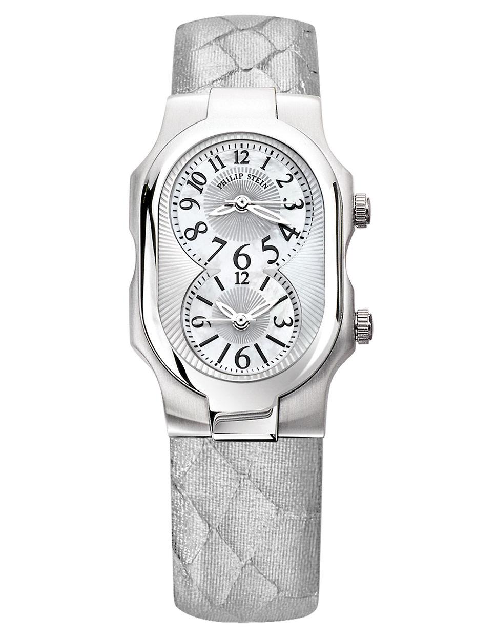 Philip stein ladies silver snakeskin strap watch in silver lyst for Philip stein watches