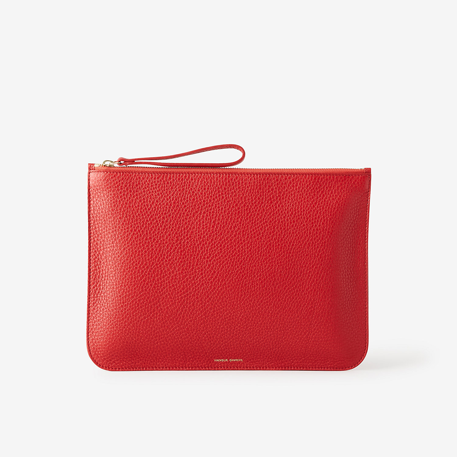 Mansur gavriel Large Tumbled Leather Wallet in Red (FLAMMA ...