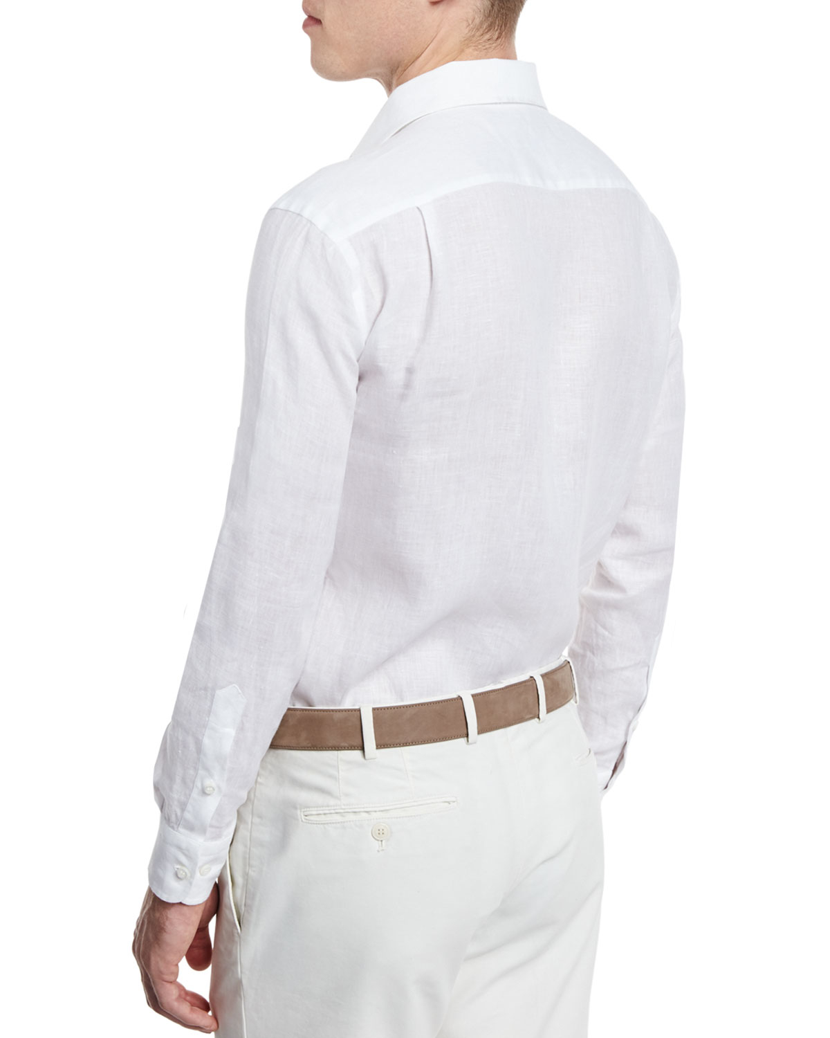 38507ca75 Loro Piana Andrew Long-sleeve Linen Shirt in White for Men - Lyst