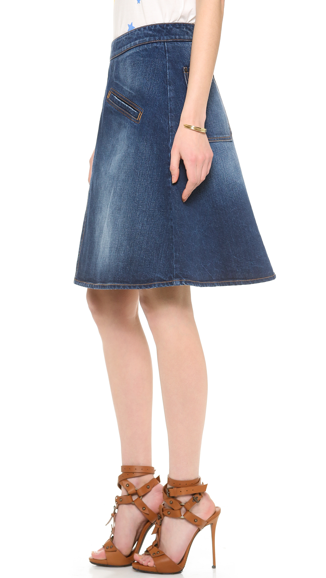 a line knee length denim skirt dress ala