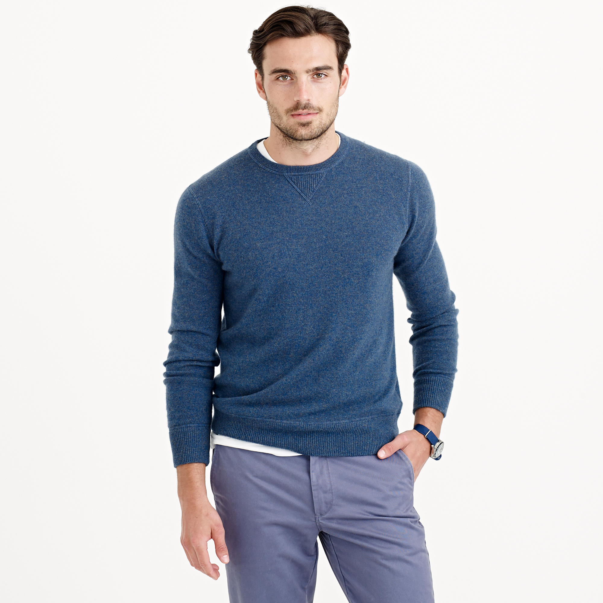 Lyst j crew italian cashmere sweatshirt in blue for men for J crew mens outfits
