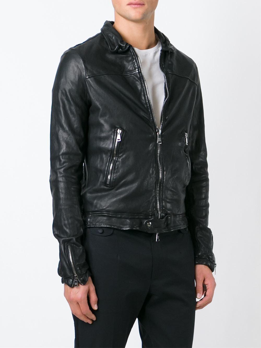 Giorgio Brato Zipped Leather Jacket In Black For Men Lyst