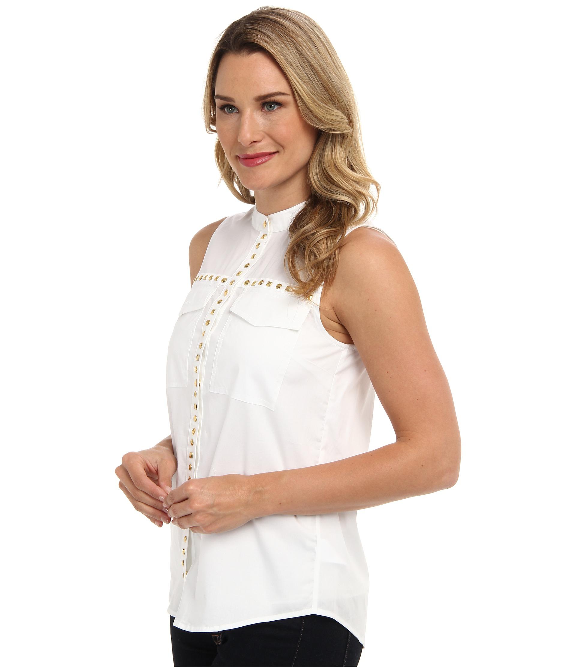 michael michael kors embellished sl pocket blouse in white lyst. Black Bedroom Furniture Sets. Home Design Ideas